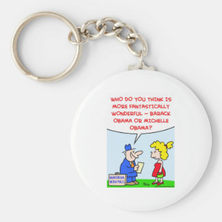 Obama Barack Michelle wonderful polls Keychain