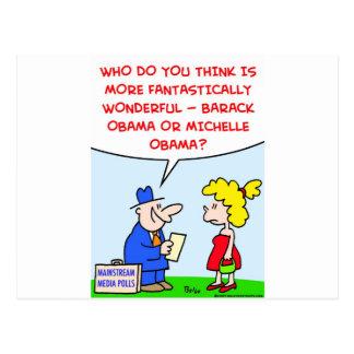 Obama Barack Michelle wonderful polls Postcard