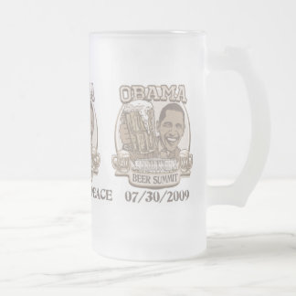 Obama Beer Summit Nonpartisan Gear 16 Oz Frosted Glass Beer Mug