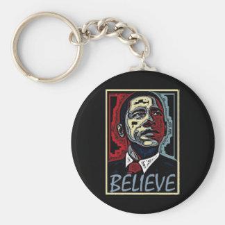 Obama Believe Basic Round Button Keychain