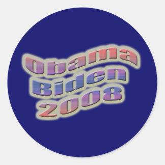 obama biden 2008 classic round sticker