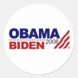 Obama Biden 2008 Pegatina Redonda