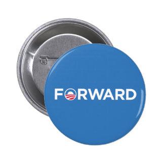 Obama Biden 2012 adelante (blanco en azul claro) Pin Redondo 5 Cm