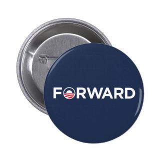 Obama Biden 2012 adelante (blanco en azul marino) Pin Redondo De 2 Pulgadas
