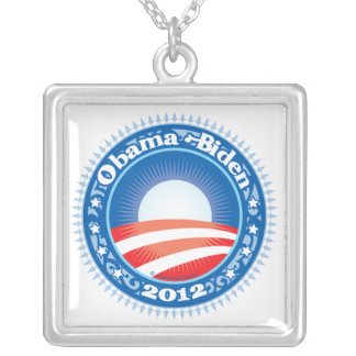 Obama Biden 2012 Circle Square Pendant Necklace