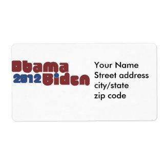 Obama Biden 2012 Etiquetas De Envío