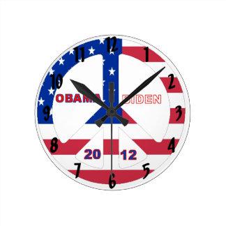 Obama Biden 2012 Flag Peace Sign Wall Clock