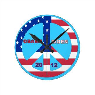Obama Biden 2012 Flag Peace Sign Wall Clock Blue