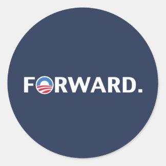 Obama / Biden 2012 Forward Slogan (White on Blue) Classic Round Sticker