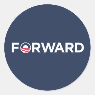 Obama Biden 2012 Forward (White on Dark Blue) Classic Round Sticker