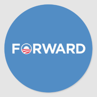 Obama Biden 2012 Forward (White on Light Blue) Classic Round Sticker