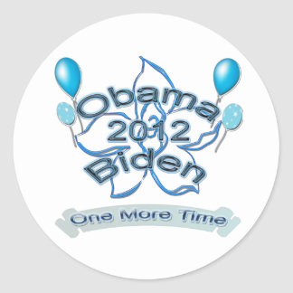 Obama Biden 2012 One More Time blue Classic Round Sticker
