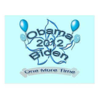 Obama Biden 2012 One More Time blue Postcard