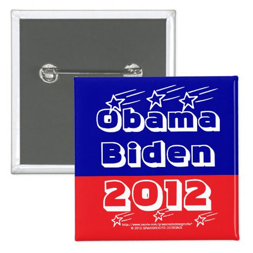 Obama Biden 2012 patrióticos azules blancos rojos  Pin Cuadrada 5 Cm