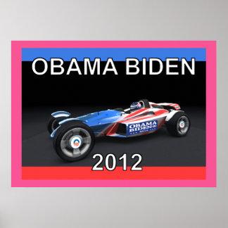 Obama Biden 2012 Race Car Poster on Canvas
