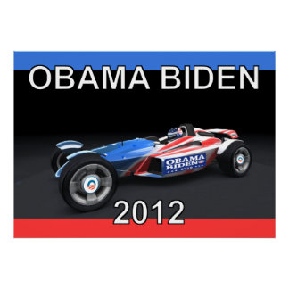 Obama Biden 2012 Race Car Poster on Canvas 36 by 2