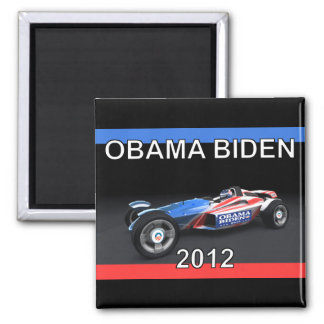 Obama Biden 2012 Racing Car - Hot and Sleek 2 Inch Square Magnet
