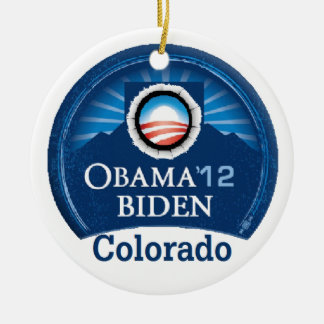 Obama Biden COLORADO Double-Sided Ceramic Round Christmas Ornament