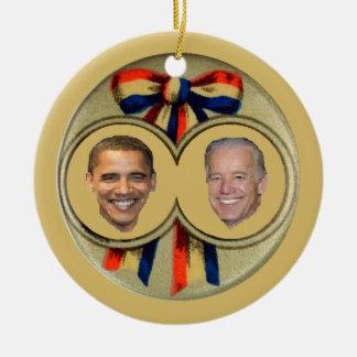 Obama Biden Adorno Redondo De Cerámica