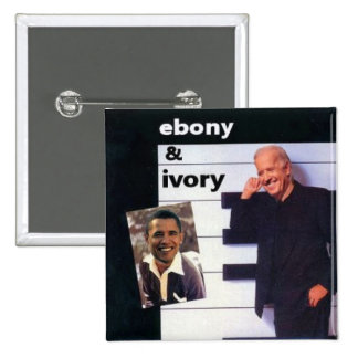 Obama / Biden Ebony Ivory Square Button
