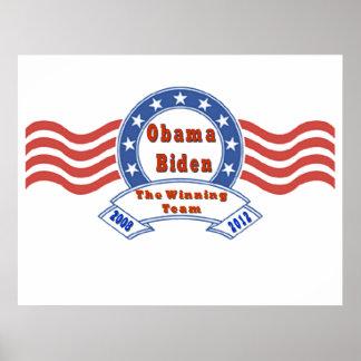 Obama Biden el poster del equipo de Winnin