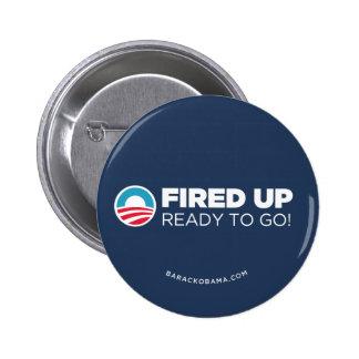 Obama Biden encendió estudiado para ir (azul marin Pin Redondo De 2 Pulgadas