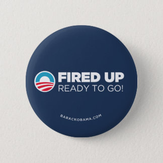 Obama Biden Fired Up Read To Go (Dark Blue) Pinback Button