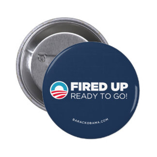 Obama Biden Fired Up Read To Go (Dark Blue) Pinback Button