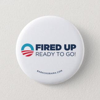 Obama Biden Fired Up, Ready To Go (White) Pinback Button