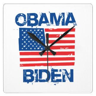 OBAMA BIDEN FLAG BLUE - png Wall Clock
