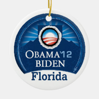 Obama Biden FLORIDA Double-Sided Ceramic Round Christmas Ornament