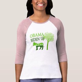 Obama Biden Go Green Womens Shirt Raglan