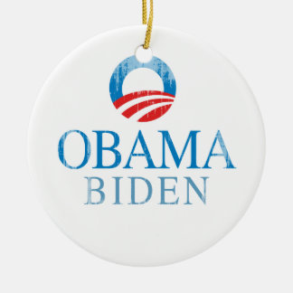 Obama BIden O blue Vintage.png Double-Sided Ceramic Round Christmas Ornament