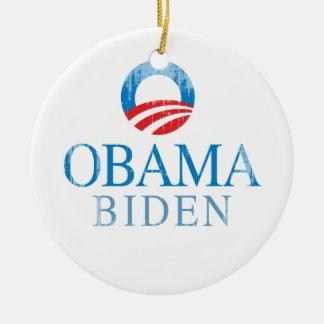 Obama BIden O Vintage.png azul Adorno Redondo De Cerámica
