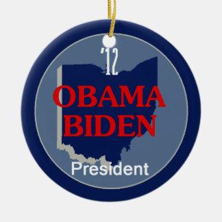 Obama Biden OHIO Adorno Navideño Redondo De Cerámica