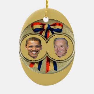 Obama Biden Double-Sided Oval Ceramic Christmas Ornament