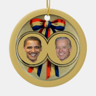 Obama Biden Double-Sided Ceramic Round Christmas Ornament