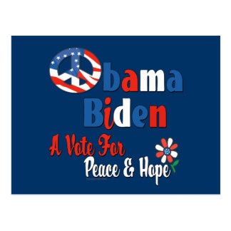 Obama Biden Peace and Hope 2008 copy Postcard