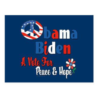 Obama Biden Peace and Hope 2008 copy Postcard