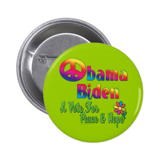 Obama Biden Peace and Hope 2008 Pinback Button