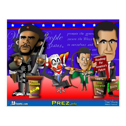 Obama Biden Romney Ryan Postcard