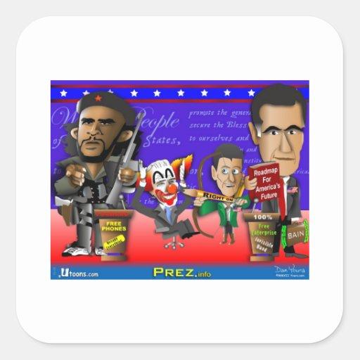Obama Biden Romney Ryan Square Stickers