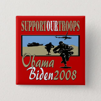Obama Biden Support Our Troops Pinback Button