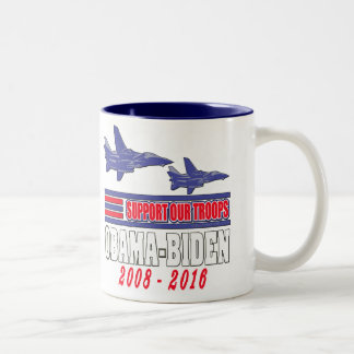 Obama Biden Support Our Troops Two-Tone Coffee Mug