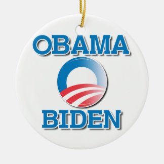 OBAMA BIDEN TWO NAMES -.png Double-Sided Ceramic Round Christmas Ornament
