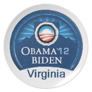 Obama Biden VIRGINIA Melamine Plate