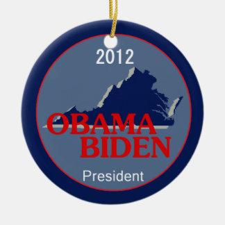 Obama Biden VIRGINIA Double-Sided Ceramic Round Christmas Ornament