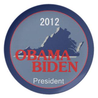 Obama Biden VIRGINIA Platos Para Fiestas
