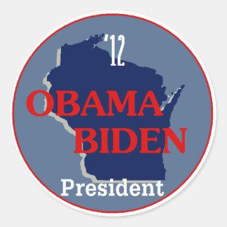 Obama Biden WISCONSIN Classic Round Sticker