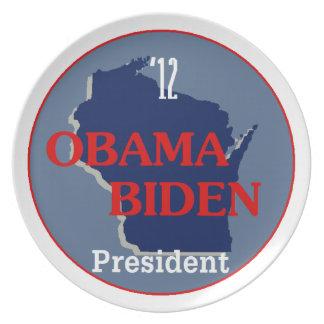 Obama Biden WISCONSIN Melamine Plate